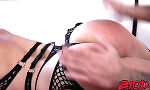 Luscious Lea Lexis fed cum after fishnets cowgirl