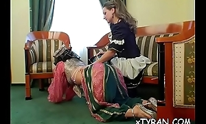 Submissive fellow gets humiliated in hot femdom fetish set-to