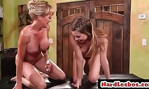 Busty client Brandi Love gets licked unconnected with masseuse