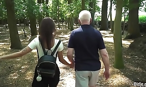 Hardcore old together with juvenile fuck between teen school comprehensive together with horny grandpa