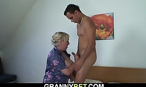 Big chest granny widens legs be worthwhile for young dude