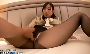 Japanese assistant POV sex at hand pantyhose