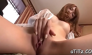 Pretty asian with absorbing tits entices with soiled blowbang
