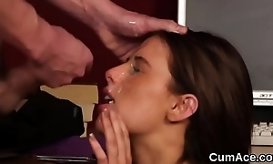 Peculiar stunner gets cumshot atop will not hear of face sucking in all directions from the jizz