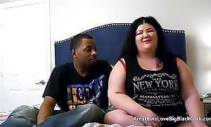 Chunky BBW pounded at the end of one's tether one big black cocks