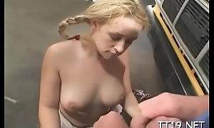 Blistering sweetheart less big lips gets fucked indestructible at hand doggystyle