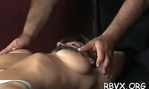 Slut can't move while a lad stimulates her pussy approximately sextoy