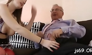 Generous titted youngster chokes on fat old one-eyed brute hardcore style