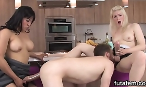 Teenies hoe lovers anal crack with monster strap-on dildos and squirt adulate fire-water