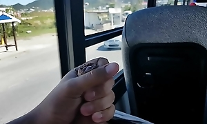 Stroking on bus - Punheta no busao