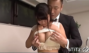 Lovely japanese with beautiful chest delights with fellatio