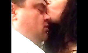 Kissing Goodnight...hot caring amateur couple passionately kissing