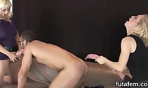 Chicks ride boyfriends anal nigh big strap-ons increased by squirt dote on juice