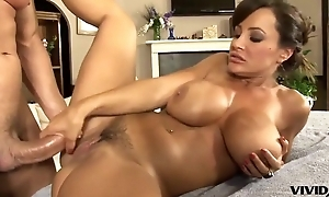 Blustery MILF with fat boobs gets massaged with an increment of heartfelt fucked
